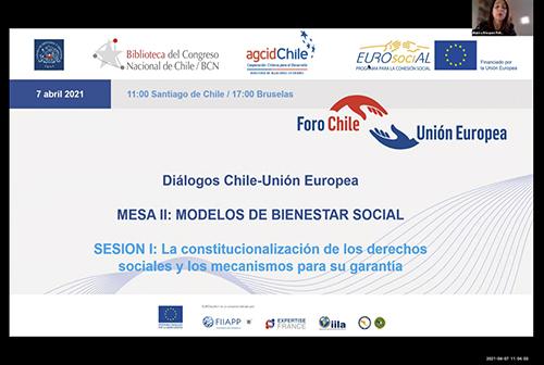 Diálogos Chile-UE. Mesa II: Modelos de bienestar social. SESIÓN I: La constitucionalización de los derechos sociales y los mecanismos para su garantía.