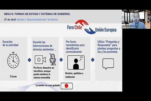 Diálogos Chile-UE.Mesa III Formas de Estado y sistemas de Gobierno. Sesión I: Descentralización territorial.