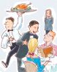 Trabajadores de restaurantes y de turismo