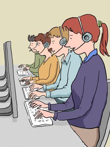 Trabajadores de centros de contacto (call centers)